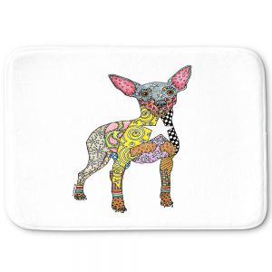 Decorative Bathroom Mats | Marley Ungaro - Mini Pinscher White | Dog animal pattern abstract whimsical