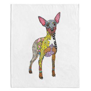 Decorative Fleece Throw Blankets | Marley Ungaro - Mini Pinscher White | Dog animal pattern abstract whimsical