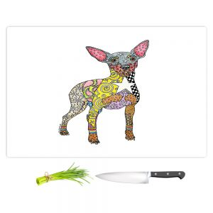 Artistic Kitchen Bar Cutting Boards | Marley Ungaro - Mini Pinscher White | Dog animal pattern abstract whimsical