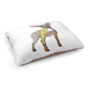 Decorative Dog Pet Beds | Marley Ungaro - Mini Pinscher White | Dog animal pattern abstract whimsical