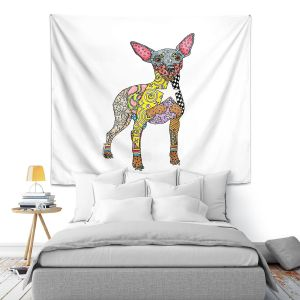 Artistic Wall Tapestry | Marley Ungaro - Mini Pinscher White | Dog animal pattern abstract whimsical