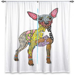 Decorative Window Treatments   Marley Ungaro - Mini Pinscher White   Dog animal pattern abstract whimsical