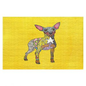Decorative Floor Covering Mats | Marley Ungaro - Mini Pinscher Yellow | Dog animal pattern abstract whimsical