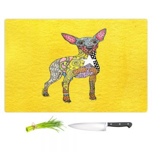 Artistic Kitchen Bar Cutting Boards | Marley Ungaro - Mini Pinscher Yellow | Dog animal pattern abstract whimsical