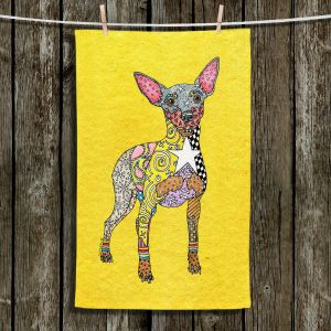 Unique Bathroom Towels | Marley Ungaro - Mini Pinscher Yellow | Dog animal pattern abstract whimsical