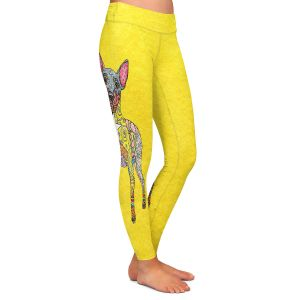 Casual Comfortable Leggings | Marley Ungaro - Mini Pinscher Yellow | Dog animal pattern abstract whimsical