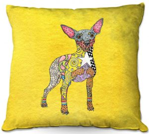 Decorative Outdoor Patio Pillow Cushion | Marley Ungaro - Mini Pinscher Yellow | Dog animal pattern abstract whimsical