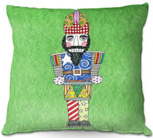Throw Pillows Decorative Artistic   Marley Ungaro - Nutcracker Green   Holidays Nutcracker Christmas Tradition