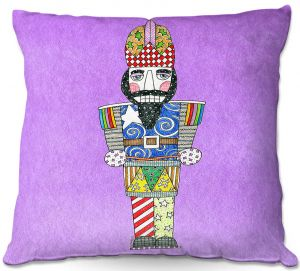 Decorative Outdoor Patio Pillow Cushion | Marley Ungaro - Nutcracker Violet | Holidays Nutcracker Christmas Tradition