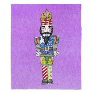 Decorative Fleece Throw Blankets | Marley Ungaro - Nutcracker Violet | Holidays Nutcracker Christmas Tradition