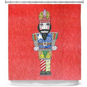 Premium Shower Curtains | Marley Ungaro - Nutcracker Watermelon | Holidays Nutcracker Christmas Tradition