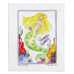 Artistic Sherpa Pile Blankets | Marley Ungaro Painting Mermaid