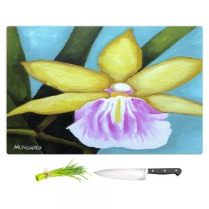 Artistic Kitchen Bar Cutting Boards | Marley Ungaro - Pale Yellow Orchid | Flower still life nature