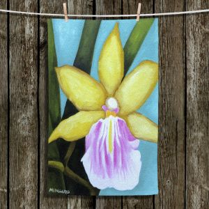 Unique Hanging Tea Towels | Marley Ungaro - Pale Yellow Orchid | Flower still life nature