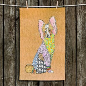 Unique Hanging Tea Towels | Marley Ungaro - Papillon Tan | Dogs Animals Pets Colorful Funky Papillon