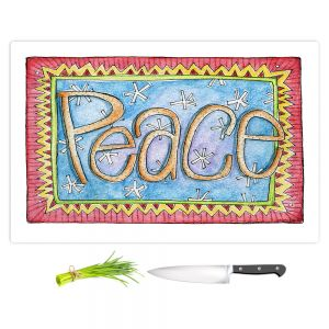 Artistic Kitchen Bar Cutting Boards | Marley Ungaro - Peace | Text typography words