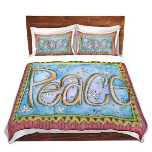 Artistic Duvet Covers and Shams Bedding | Marley Ungaro - Peace | Text typography words