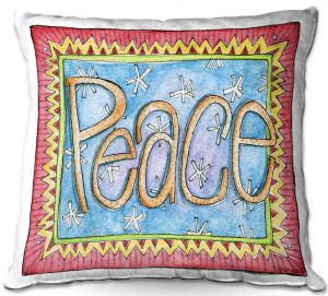 Decorative Outdoor Patio Pillow Cushion | Marley Ungaro - Peace | Text typography words