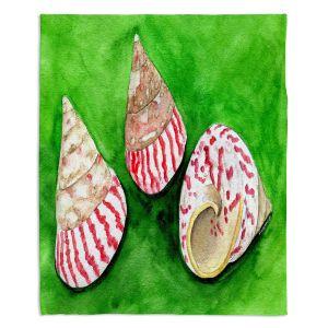 Decorative Fleece Throw Blankets | Marley Ungaro - Peppermint Trochus | Ocean seashell still life nature