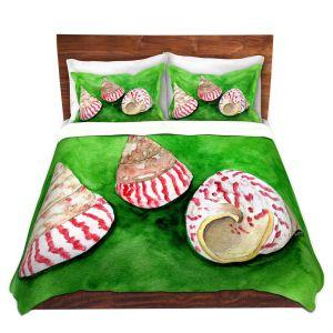 Artistic Duvet Covers and Shams Bedding | Marley Ungaro - Peppermint Trochus | Ocean seashell still life nature