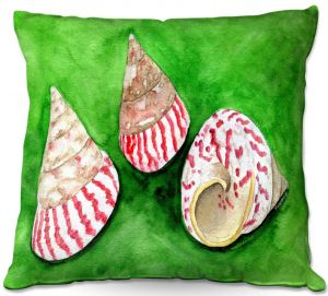 Decorative Outdoor Patio Pillow Cushion | Marley Ungaro - Peppermint Trochus | Ocean seashell still life nature