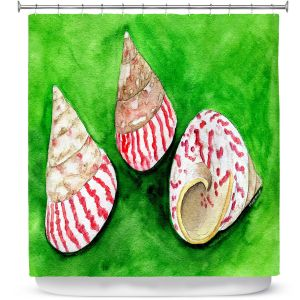 Premium Shower Curtains | Marley Ungaro - Peppermint Trochus | Ocean seashell still life nature