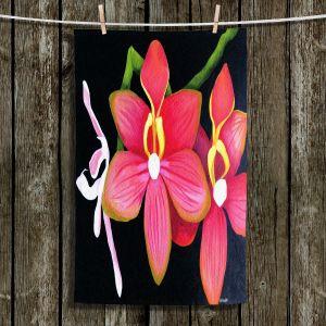 Unique Hanging Tea Towels | Marley Ungaro - Pink Hanging Orchid | Flower still life nature