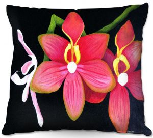Decorative Outdoor Patio Pillow Cushion | Marley Ungaro - Pink Hanging Orchid | Flower still life nature