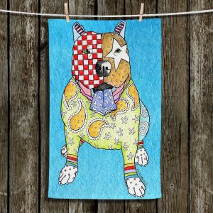 Unique Hanging Tea Towels | Marley Ungaro - Pitbull Dog Aqua | Dogs Pitbull Animals