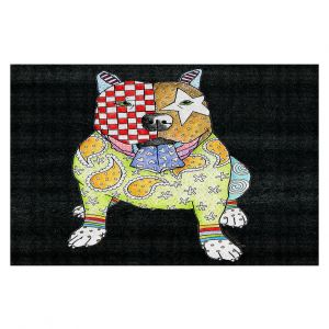 Decorative Floor Covering Mats | Marley Ungaro - Pitbull Black | dog collage pattern quilt