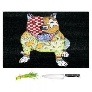 Artistic Kitchen Bar Cutting Boards | Marley Ungaro - Pitbull Black | dog collage pattern quilt