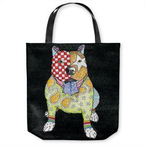 Unique Shoulder Bag Tote Bags | Marley Ungaro - Pitbull Black | dog collage pattern quilt