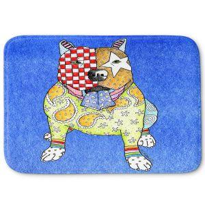 Decorative Bathroom Mats | Marley Ungaro - Pitbull Blue | dog collage pattern quilt