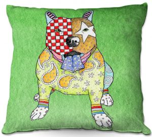 Throw Pillows Decorative Artistic | Marley Ungaro - Pitbull Green | dog collage pattern quilt