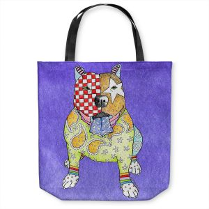 Unique Shoulder Bag Tote Bags | Marley Ungaro - Pitbull Indigo | dog collage pattern quilt
