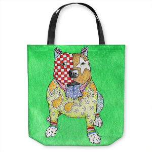 Unique Shoulder Bag Tote Bags | Marley Ungaro - Pitbull Kelly | dog collage pattern quilt