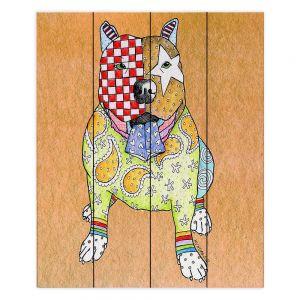 Decorative Wood Plank Wall Art | Marley Ungaro - Pitbull Tan | dog collage pattern quilt