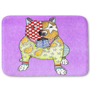 Decorative Bathroom Mats | Marley Ungaro - Pitbull Violet | dog collage pattern quilt