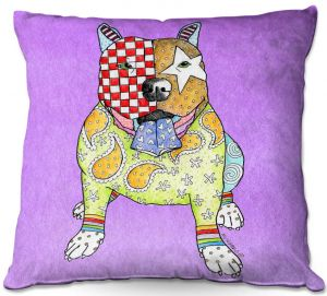 Throw Pillows Decorative Artistic | Marley Ungaro - Pitbull Violet | dog collage pattern quilt