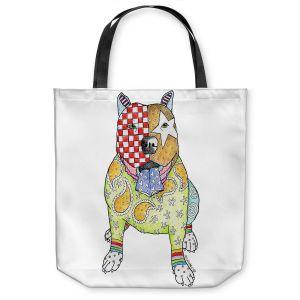 Unique Shoulder Bag Tote Bags | Marley Ungaro - Pitbull White | dog collage pattern quilt