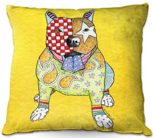 Throw Pillows Decorative Artistic | Marley Ungaro - Pitbull Yellow | dog collage pattern quilt