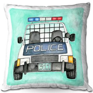 Unique Throw Pillows from DiaNoche Designs by Marley Ungaro - Police Car | 16X16