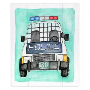 Decorative Wood Plank Wall Art | Marley Ungaro - Police Car | Law Enforcement