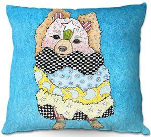Decorative Outdoor Patio Pillow Cushion | Marley Ungaro - Pomeranian Dog Aqua