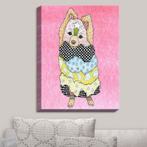 Decorative Canvas Wall Art | Marley Ungaro - Pomeranian Dog Light Pink