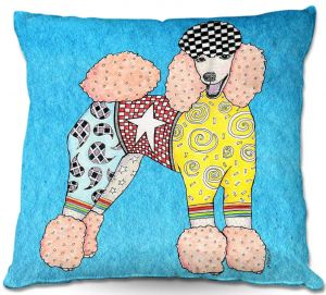 Unique Throw Pillows from DiaNoche Designs by Marley Ungaro - Poodle Dog Aqua | 16X16