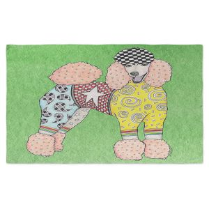 Artistic Pashmina Scarf | Marley Ungaro - Poodle Dog Green | Abstract Colorful Poodle French Toy