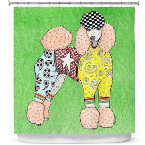 Premium Shower Curtains | Marley Ungaro Poodle Green