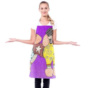 Artistic Bakers Aprons | Marley Ungaro - Poodle Dog Purple | Abstract Colorful Poodle French Toy