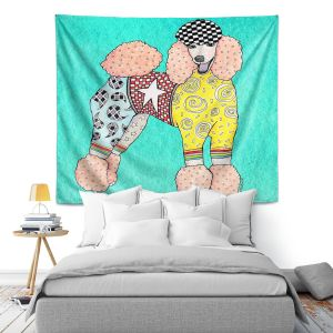 Artistic Wall Tapestry   Marley Ungaro Poodle Turquoise